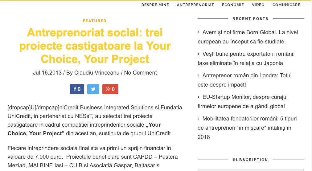 Antreprenoriat social: trei proiecte castigatoare la Your Choice, Your Project